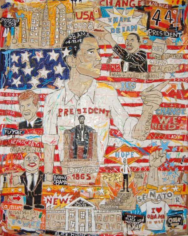 Obama - Mickaël Molinié - 2008 - Techniques mixtes sur toile